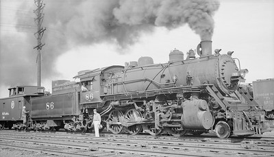 2018.15.N98A.7274--ed wilkommen 116 neg--MP--steam locomotive 2-8-0 86 with caboose--Kansas City MO--1950 0529