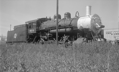2018.15.N59.1975--ed wilkommen 116 neg--Black Hills Central--C&NW steam locomotive 444--Hill City SD--1960s