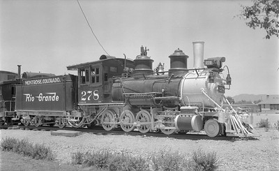 2018.15.N74A.5825--ed wilkommen 116 neg--D&RGW narrow gauge--steam locomotive 2-8-0 C-16 278 on display--Montrose CO--1956 0626