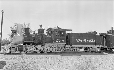 2018.15.N74A.5824--ed wilkommen 116 neg--D&RGW narrow gauge--steam locomotive 2-8-0 C-16 278 on display--Montrose CO--1956 0626