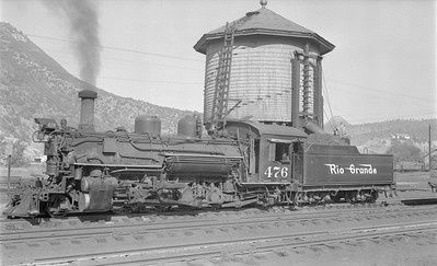 2018.15.N74A.5844--ed wilkommen 116 neg--D&RGW narrow gauge--steam locomotive 2-8-2 K-28 476--Durango CO--1956 0909