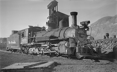 2018.15.N74A.5831--ed wilkommen 116 neg--D&RGW narrow gauge--steam locomotive 2-8-2 K-27 453--Durango CO--1951 0707