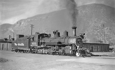 2018.15.N74A.5833--ed wilkommen 116 neg--D&RGW narrow gauge--steam locomotive 2-8-2 K-27 453--Durango CO--1951 0707