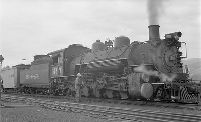 2018.15.N74A.5849--ed wilkommen 116 neg--D&RGW narrow gauge--steam locomotive 2-8-2 K-36 480--Durango CO--1960 0600