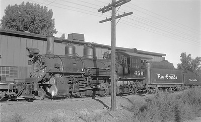2018.15.N74A.5835--ed wilkommen 116 neg--D&RGW narrow gauge--steam locomotive 2-8-2 K-27 456--Montrose CO--1951 0901