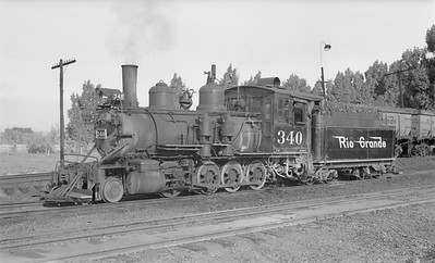 2018.15.N74A.5829--ed wilkommen 116 neg--D&RGW narrow gauge--steam locomotive 2-8-0 C-19 340--Montrose CO--1949 0528