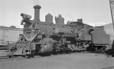 2018.15.N74A.5832--ed wilkommen 116 neg--D&RGW narrow gauge--steam locomotive 2-8-2 K-27 453--Durango CO--1947 0718
