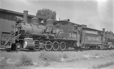 2018.15.N74A.5828--ed wilkommen 116 neg--D&RGW narrow gauge--steam locomotive 2-8-0 C-19 340--Montrose CO--1951 0705