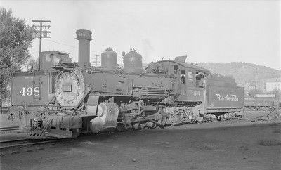 2018.15.N74A.5838--ed wilkommen 116 neg--D&RGW narrow gauge--steam locomotive 2-8-2 K-27 464--Durango CO--1956 0910