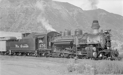 2018.15.N74A.5843--ed wilkommen 116 neg--D&RGW narrow gauge--steam locomotive 2-8-2 K-28 476--Durango CO--1960 0600