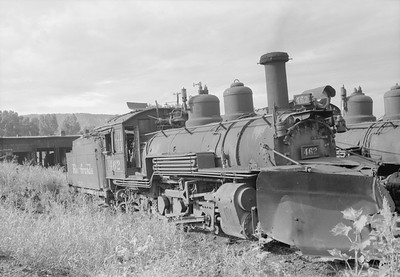 2018.15.N74A.5837--ed wilkommen 6x9 neg--D&RGW narrow gauge--steam locomotive 2-8-2 K-27 462--Ridgeway CO--1947 0800
