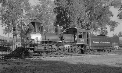 2018.15.N74A.5821--ed wilkommen 116 neg--D&RGW narrow gauge--steam locomotive 4-6-0 T-12 168 on display in park--Colorado Springs CO--1967 0800