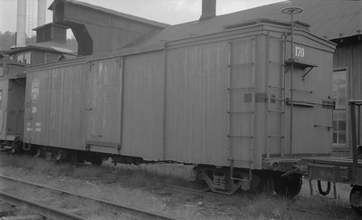 2018.15.N50.1845--ed wilkommen 116 neg--EBT--wooden boxcar at shops--Rockhill PA--1960s
