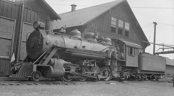 2018.15.N50.1806--ed wilkommen 116 neg--EBT--steam locomotive 2-8-2 18 outside shops--Rockhill Furnace PA--1955 0214