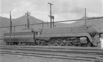 2018.15.N79.6172--ed wilkommen 116 neg--N&W--steam locomotive 4-8-2 K2a 133 (streamlined)--Portsmouth OH--1957 0428