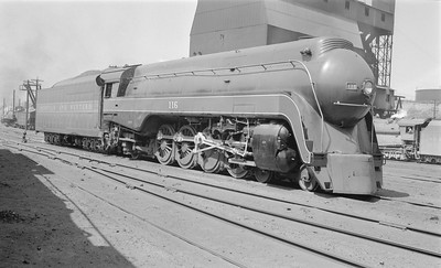 2018.15.N79.6167--ed wilkommen 116 neg--N&W--steam locomotive 4-8-2 K2 116 (streamlined)--Roanoke VA--1955 0409