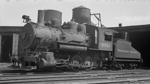 2018.15.N72.5648M--ed wilkommen 116 neg--NP--steam locomotive 0-6-0 L-7 1031 at roundhouse--Glendive MT--1955 0620