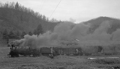 2018.15.N64C.2047--ed wilkommen 116 neg--Graham County--Shay steam locomotive 1928 on freight train action--Robbinsville TN--no date