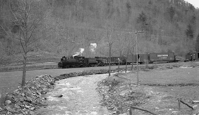 2018.15.N64C.2049--ed wilkommen 116 neg--Graham County--Shay steam locomotive 1928 on freight train--naer Robbinsville TN--no date
