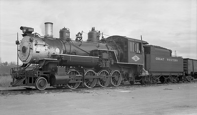 2018.15.N64D.8114--ed wilkommen 116 neg--Great Western--steam locomotive 2-8-0 51 with freight cars--location unknown--no date