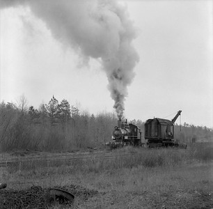 2018.15.N64G.8139A--ed wilkommen 120 neg--Mobile & Gulf--steam locomotive 2-6-0 97 passing wrecker action--Brownville AL--c1956 0000