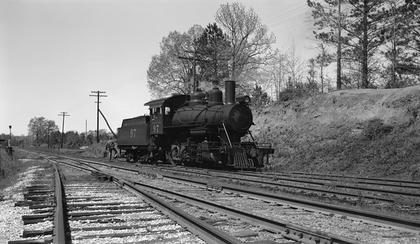 2018.15.N64G.8150--ed wilkommen 116 neg--Mobile & Gulf--steam locomotive 2-6-0 97--Buhl AL--1962 0413