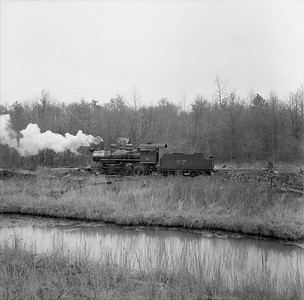 2018.15.N64G.8140B--ed wilkommen 120 neg--Mobile & Gulf--steam locomotive 2-6-0 97 at coal pile--Brownville AL--c1956 0000