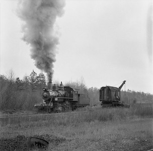 2018.15.N64G.8139B--ed wilkommen 120 neg--Mobile & Gulf--steam locomotive 2-6-0 97 passing wrecker action--Brownville AL--c1956 0000