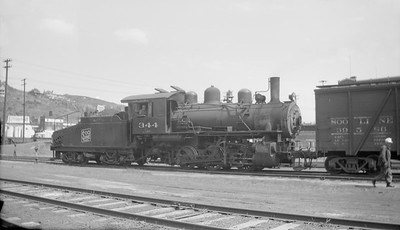 2018.15.N92.7019--ed wilkommen 116 neg--SOO--steam locomotive 0-6-0 B-3 344 switching cars--Duluth MN--1947 0531