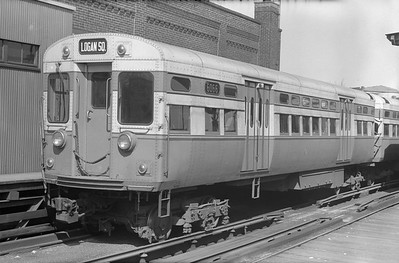 2018.15.N99E.7995--ed wilkommen 6x9 neg--CTA--L car 6066 (original paint scheme) at Logan Square Terminal--Chicago IL--early 1950s