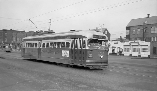 2018.15.N99E.8931--ed wilkommen 116 neg--CTA--PCC car 7248 southbound in service on Western Ave--Chicago IL--c1950s