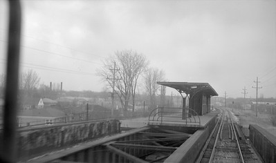 2018.15.N99E.7999--ed wilkommen 116 neg--CTA--abandoned L station platform Dodge Ave on Skokie Swift line--Evanston IL--c1960 0000