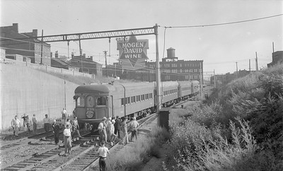 2018.15.N64.2730--ed wilkommen 116 neg--Illinois Terminal Co--NRHS special with electric interurban cars near exit to subway--St Louis MO--1953 0906
