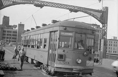 2018.15.N99B.7621--ed wilkommen 6x9 neg--CNS&M--electric streetcar 359 at 16th Street viaduct--Milwaukee WI--no date