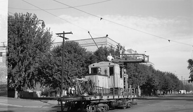 2018.15.N99H.8838--ed wilkommen 116 neg--Yakima Valley--electric linecar A working in street--Yakima WA--no date