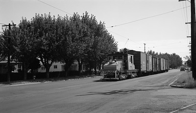 2018.15.N99H.8835--ed wilkommen 116 neg--Yakima Valley--electric locomotive 298 street running with freight cars--Yakima WA--no date