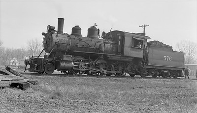 2018.15.N94.7143--ed wilkommen 116 neg--WAB--steam locomotive 2-6-0 F-4 576--Mt Sterling IL--1953 0409