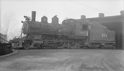 2018.15.N94.7142--ed wilkommen 116 neg--WAB--steam locomotive 2-6-0 F-4 573--Bluffs IL--1953 0409
