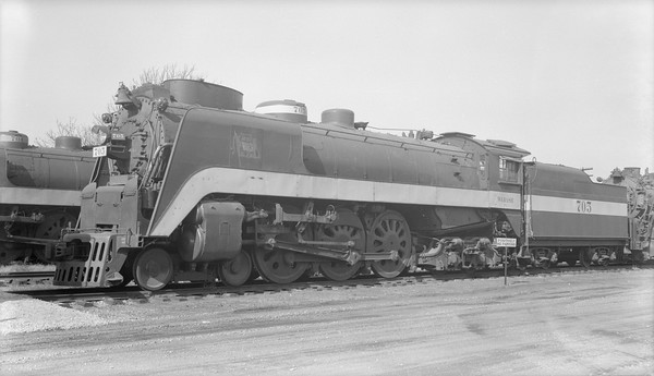2018.15.N94.7154--ed wilkommen 116 neg--WAB--steam locomotive 4-6-4 P-1 705 (streamlined)--Decatur IL--1954 1107