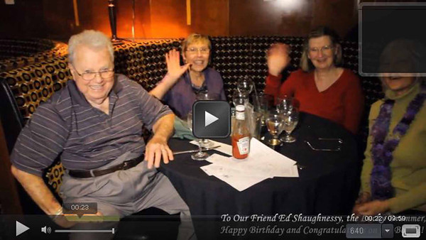 Video 14:  FROM ALL YOUR FRIENDS!!!!  Good wishes to you, ED SHAUGHNESSY,  ...  Happy Birthday and Congratulations on the Book!