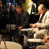 """Wall to Wall Music (short version)...Tom Peterson on sax playing the """"Johnny Carson Theme to the Tonight Show""""<br /> Introduction to THE THREE DRUMMERS!! with Merle Kreibich, MC<br /> Paul Kreibich drums, Rich Eames piano, Joe LaBarbara drums, Jeff Hamilton drums, playing on Ed Shaughnessy's snare drums ... a night to remember at the Crown Plaza LAX - Thursday 27th June 2013!!!"""