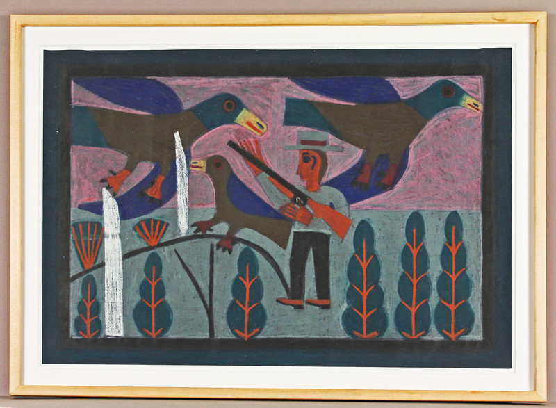 Hunter with Birds.  1972.  22 x 32 in. (55.9 x 81.3 cm.)