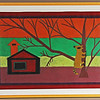 Racoon in a Tree.  Early 1970s. 22 x 32 in. (55.9 x 81.3 cm.)