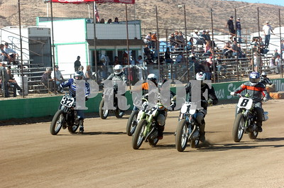 1 Herb Wolf leads the super sr class into turn 1