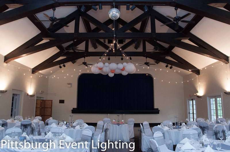 Edgewod Club Wedding Paper Laterns and Cafe String Lights