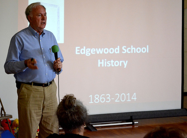 Former Unit 40 History Teacher and local historian Delaine Donaldson shared the history of Edgewood Grade School. There was been a school in operation in Edgewood since 1863.