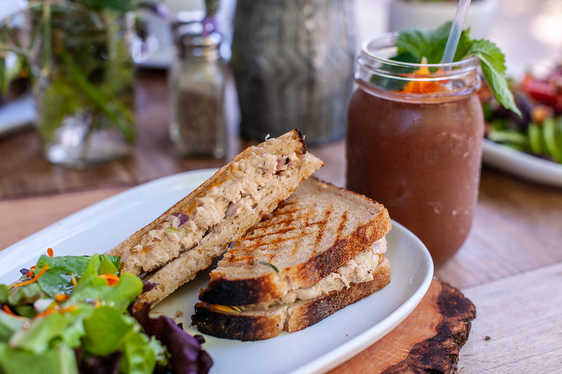 House made Argonaut Tuna Melt with a eureka smoothie.Smoothie is cacao, almond butter, almond milk and bananas