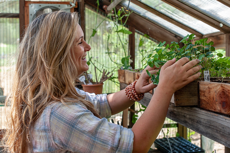 Brigette admiring her nasturtium starts in the vintage greenhouse at Bee Love Farm.These starts will eventually be edible flowers served on dishes at the Argonaut Farm to Fork café.
