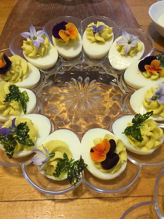 edible flowers and butterflies on food