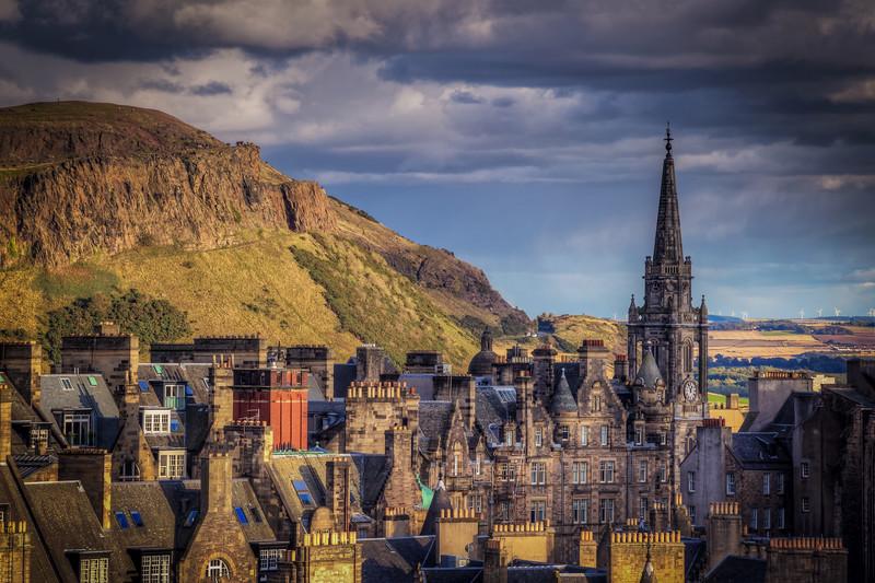 Arthurs Seat And Cathedral, Edinburgh Scotland